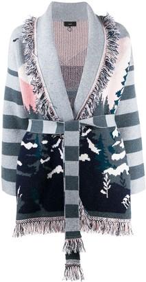 Alanui Landscape Pattern Knitted Cardigan