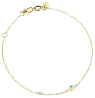 Sydney Evan 14K Gold Diamond Mini Evil Eye Charm Bracelet