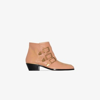 Chloé pink Susanna 30 buckled leather ankle boots