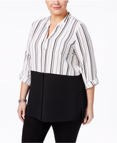 Alfani Plus Size Tab-Sleeve Colorblocked Blouse, Only at Macy's