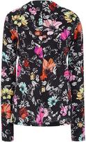 Oscar de la Renta Tropical Printed Silk Blouse