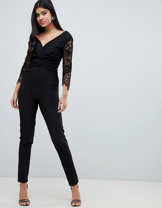Little Mistress lace sleeve fitted jumpsuit in black