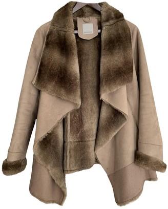 Pinko Beige Rabbit Coat for Women