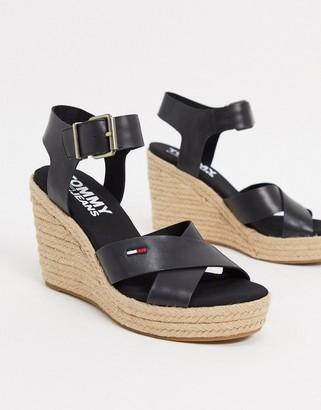 Tommy Hilfiger wedge sandals in black