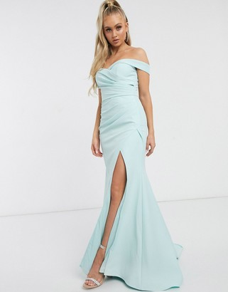 Jarlo bardot maxi dress with sweetheart plunge in mint