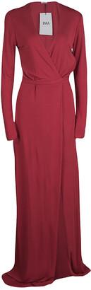 Issa Pomegranate Red High Twist Jersey Antonia Wrap Maxi Dress M