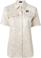 Rochas floral letter shirt - women - Silk/Polyester - 40