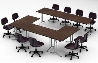 Meeting Seminar 5 Piece Rectangular Conference Table Set Team Tables Top Finish: Java