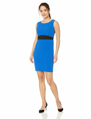 Kasper Women's Petite Sleeveless Jewel Neck Stretch Crepe Sheath Dress