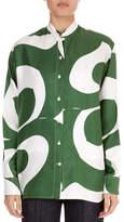 Victoria Beckham Granddad Button-Down Long-Sleeve Striped Silk Shirt