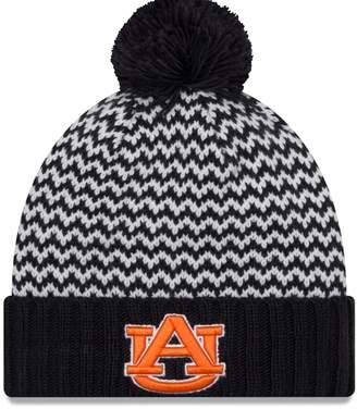 New Era Women's Navy Auburn Tigers Patterned Cuffed Knit Hat with Pom