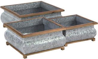 Uma Enterprises Set Of 3 Metal & Wood Planters