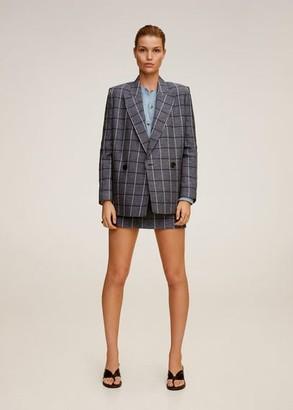 MANGO Structured linen checked blazer