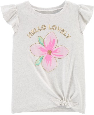 Carter's Girls Hello Lovely Flower Tie-Front Jersey Tee