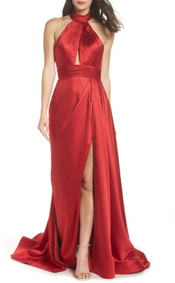 Mac Duggal Halter Neck Keyhole Satin Evening Gown