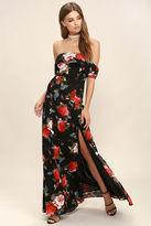 LuLu*s I Care Black Floral Print Off-the-Shoulder Maxi Dress