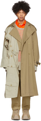 Feng Chen Wang Beige Double-Layer Modified Trench Coat