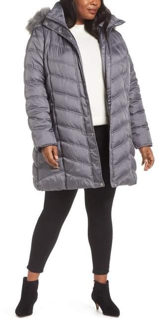 Faux Fur Trim Puffer Jacket (Plus Size)