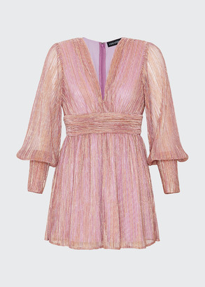 retrofete Dani Plisse Metallic Mini Dress