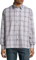 Ike Behar Check Sport Shirt, Gray/Beige