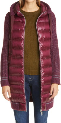 Herno Sweater Sleeve Hooded Down Puffer Coat