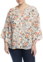 Fever Polka-Dot Printed Bell-Sleeve Blouse, Plus Size
