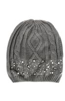 Quiz Grey Pearl And Diamante Beanie Hat