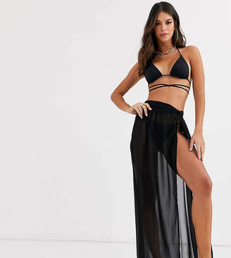 Asos Tall DESIGN TALL twist front recycled maxi beach sarong in black