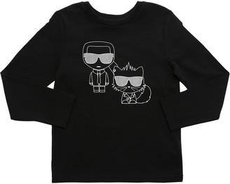 Karl Lagerfeld Paris Choupette & Print Jersey T-Shirt