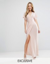 Love Plunge Tie Front Split Maxi Dress