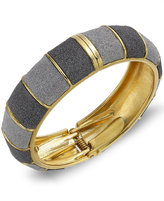 ABS by Allen Schwartz Gold-Tone Gray Textured Bangle Bracelet