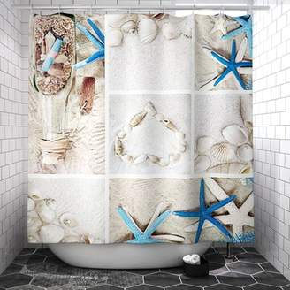 Kadell Starfish Coastal Style Shower Curtain-71''x71'', 3D Print Bathroom Waterproof Shower Curtain