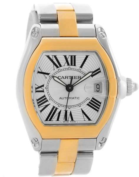Cartier Roadster W62031Y4 18K Yellow Gold Stainless Steel 38mm Mens Watch