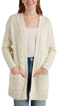 Lucky Brand Cable Open-Front Cardigan