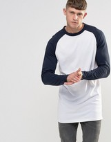 Bellfield Longline Raglan Long Sleeve Baseball T-Shirt