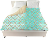 "Oliver Gal The Artist Co. Arabesque Turquoise and Gold"" Duvet Cover, King"