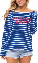 Macbeth Navy Stripe 'Parlez Vous Beach!' Scoop Neck Top