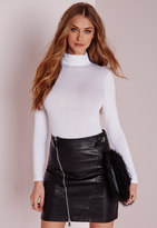 Missguided Long Sleeve Turtle Neck Bodysuit White