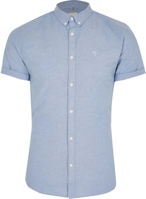 River Island Mens Maison Riviera Blue muscle fit Oxford shirt