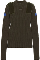 Off-White Cotton Velvet-paneled Ribbed Wool Sweater - Army green