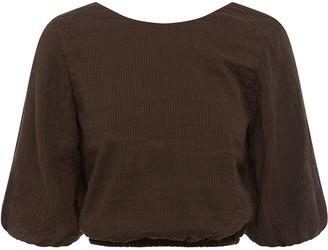 Peony Swimwear Three-Quarter Sleeves Cropped Blouse