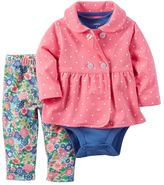 Carter's Baby Girl Polka Dot Jacket, Bodysuit & Floral Pants Set