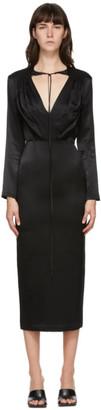 MATÉRIEL Black V-Neck Mid-Length Dress
