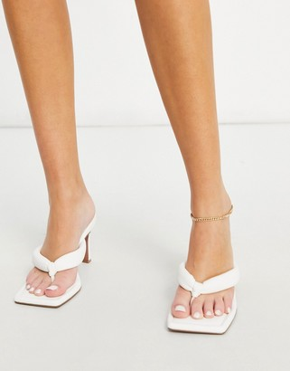 ASOS DESIGN Haven padded toe thong heeled sandals in white