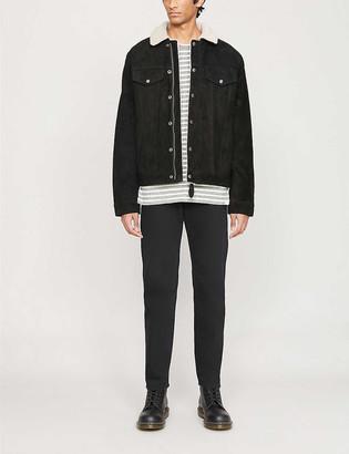Schott Shearling-lined suede trucker jacket