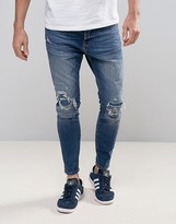 Pull&bear Skinny Carrot Fit Jeans In Mid Wash Blue