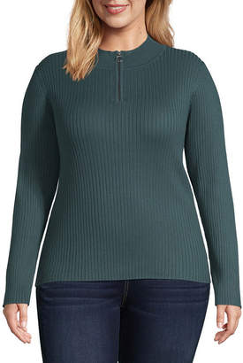 Arizona Women's Mock Neck Long Sleeve Pullover Sweater-Juniors Plus