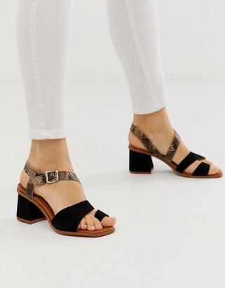 Asos Design DESIGN Hickery premium suede toe loop block heeled sandals in black and snake