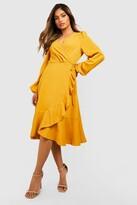 Thumbnail for your product : boohoo Crepe Ruffle Wrap Midi Skater Dress