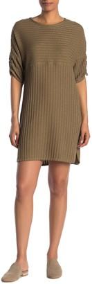 Max Studio Rib Knit Ruched Sleeve Dress